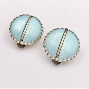 MIW GERMANY Mid Century Pastel Blue Button Earring